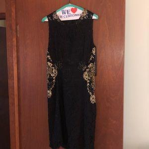 Elie Tahari black lace dress w/ gold embellishment